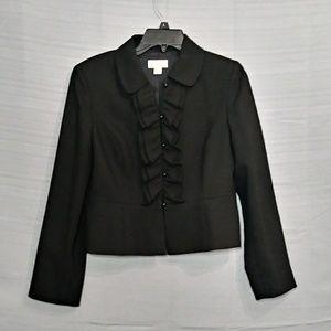 Loft black ruffled wool long sleeve blazer sz 8p